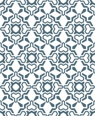 geometric abstract flowers monochrome seamless pattern.