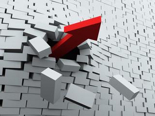 3d arrow breaking wall