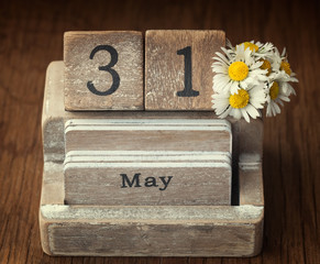 Old vintage calender showing the date 31st of May which is the d