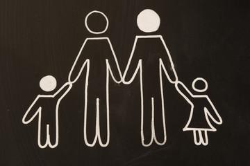 happy family on blackboard