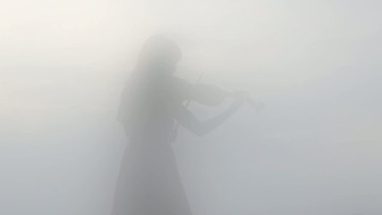 Shadow of a Young Woman Playing the Violin