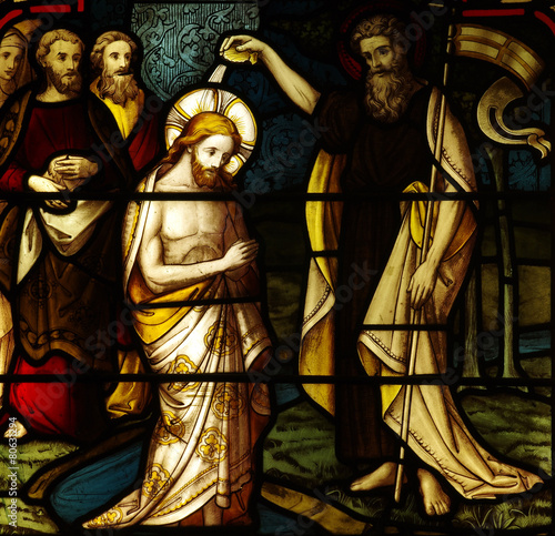 Plagát, Obraz Baptism of Jesus in stained glass