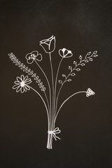 flowers on blackboard