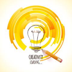 Idea. Design of progress bar, loading creativity.