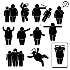 Fat Man Action Poses Postures Cliparts