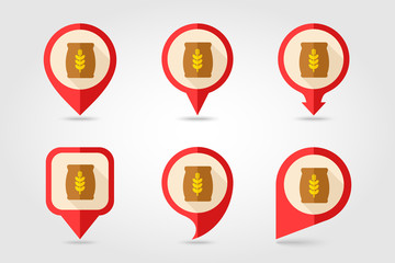 Sack of grain flat mapping pin icon with long shadow