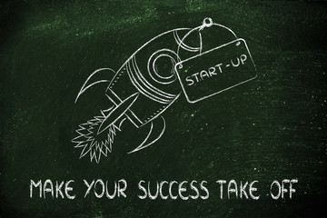 rocket illustration, let your success take off