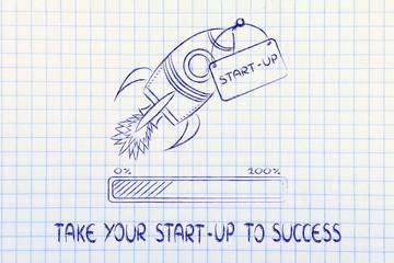 rocket illustration, let your success take off (progress bar ver