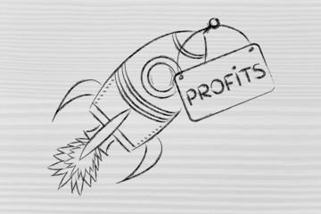 rocket illustration, let your profits take off