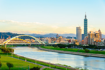 skyline of the taipei city by the river
