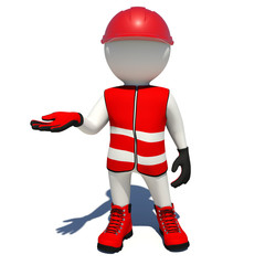 Worker in red overalls holding empty palm up. Isolated