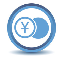 Blue yen coin icon