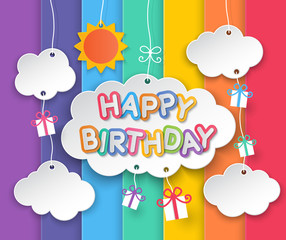 Happy birthday clouds and rainbow sky background