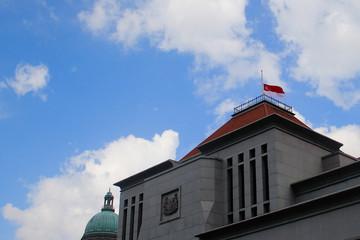 Singapore flag at half mast