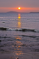 beautiful red sunset at beal beach