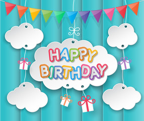 Happy birthday clouds and sky background