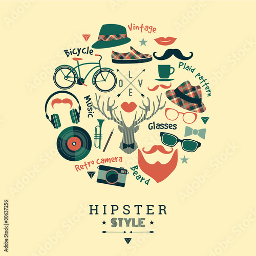 Flat design vector illustration of hipster style. © Nadezda Grapes