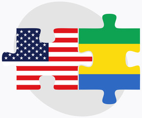 USA and Gabon Flags in puzzle