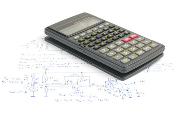 Education concept scientific calculator on electronics notes