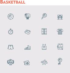 Vector basketball icon set
