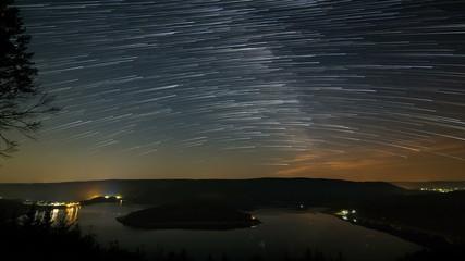 Star Trails Above Lake Timelapse