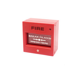 Red fire alarm on white background