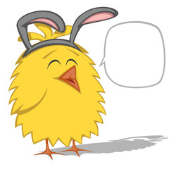 Funny chicken is wearing Easter Bunny ears
