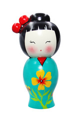 Asian doll wooden statue isolated on white