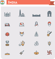 India travel icon set