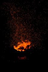 sparks of bonfire.