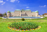 Belvedere palace ,Vienna Austria ,with beautiful floral garden