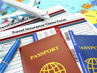 Travel insurance application form, passport and airplane on the