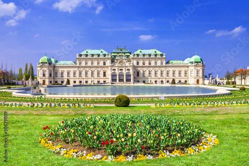 Leinwandbild Motiv Belvedere palace ,Vienna Austria ,with beautiful floral garden