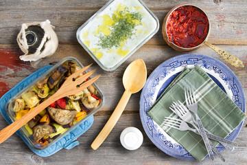 Grilled veggies, tzatziki, cacik and pepper paste