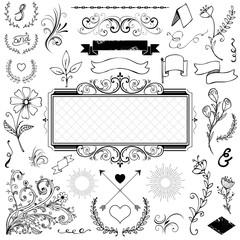 Vector set of calligraphic elements for design Calligraphic