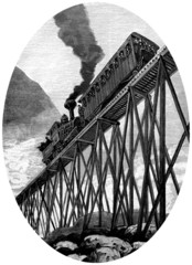 Railway Bridge : American Train - 19th century