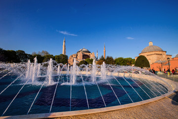 fountain in the background mosque Aya Sofia, Istanbul Turkey