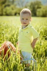 little boy on the lawn,