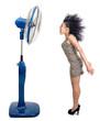 woman is cooled by fan