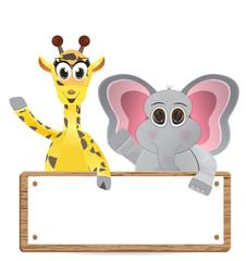 Funny cartoon giraffe and elephant with text box