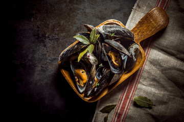 Serving of delicious marinated mussels