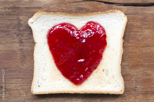 jam toast on wood