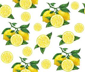 Watercolor drawing of lemon. Seamless pattern