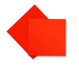 Red envelope and card on white