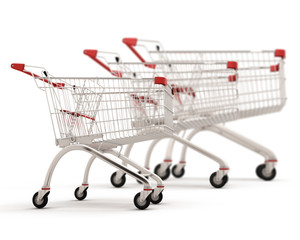 Carts for shopping of the different sizes built in a row