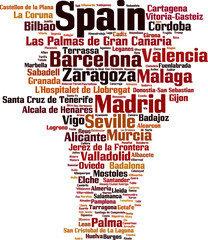 Cities in Spain word cloud concept. Vector illustration