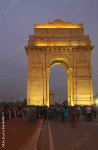 Aluminium Delhi India Gate with lights at night, New Delhi, India