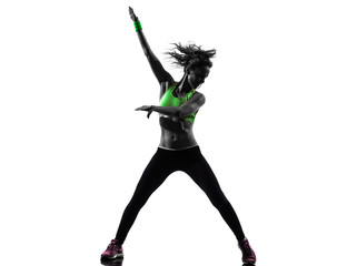 woman exercising fitness zumba dancing silhouette