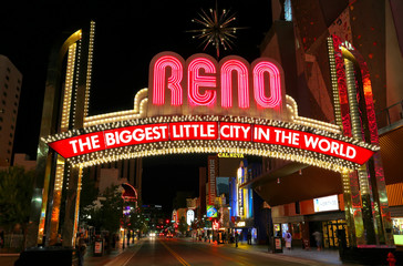 "Famous ""The Biggest Little City in the World"" sign at night in R"
