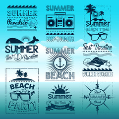 Vintage summer typography design with labels, icons elements